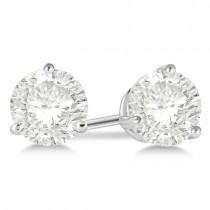 Round Diamond Stud Earrings 3-Prong Martini Setting In 14K White Gold