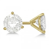 Round Diamond Stud Earrings 3-Prong Martini Setting In 14K Yellow Gold