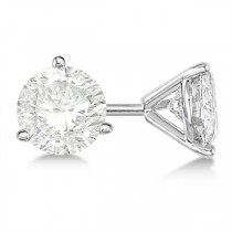 Round Diamond Stud Earrings 3-Prong Martini Setting In Platinum