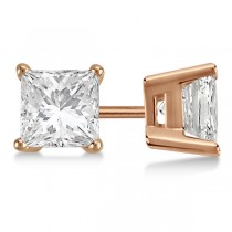 Square Diamond Stud Earrings Basket Setting In 14K Rose Gold
