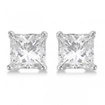 Square Diamond Stud Earrings Basket Setting In 14K White Gold