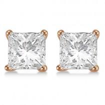 Square Diamond Stud Earrings Martini Setting In 14K Rose Gold