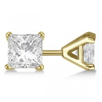 Square Diamond Stud Earrings Martini Setting In 14K Yellow Gold