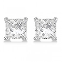 Square Diamond Stud Earrings Martini Setting In 18K White Gold