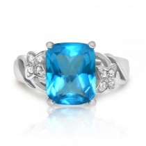 Blue Topaz Ring w/ Diamond Accents in 14k White Gold (4.05ctw)