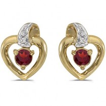 Garnet and Diamond Heart Earrings 14k Yellow Gold (0.28ctw)