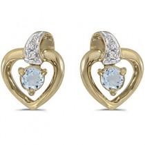 Aquamarine and Diamond Heart Earrings 14k Yellow Gold (0.20ctw)