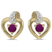 Ruby and Diamond Heart Earrings 14k Yellow Gold (0.30ctw)
