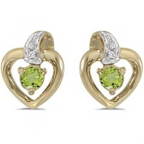 Peridot and Diamond Heart Earrings 14k Yellow Gold (0.28ctw)