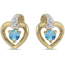 Blue Topaz and Diamond Heart Earrings 14k Yellow Gold (0.20ctw)