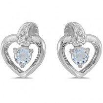 Aquamarine and Diamond Heart Earrings 14k White Gold (0.20ctw)