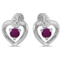 Ruby and Diamond Heart Earrings 14k White Gold (0.30ctw)