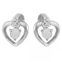Round Opal and Diamond Heart Earrings 14 White Gold (0.14ct)