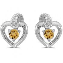 0.20ct Round Citrine and Diamond Heart Earrings 14k White Gold