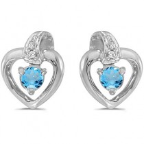 Blue Topaz and Diamond Heart Earrings 14k White Gold (0.20ctw)