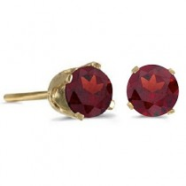 1.20ct Garnet Stud Earrings January Birthstone 14k Yellow Gold