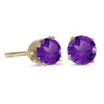 0.80ct Amethyst Stud Earrings February Birthstone 14k Yellow Gold