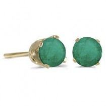 0.96ct Emerald Stud Earrings May Birthstone 14k Yellow Gold