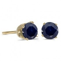 1.20ct Blue Sapphire Stud Earrings September Birthstone 14k Yellow Gold