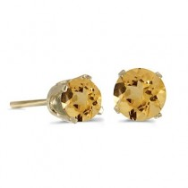 0.80ct Round Citrine Stud Earrings November Birthstone 14k Yellow Gold