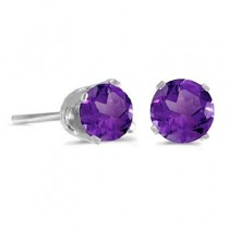 0.80ct Amethyst Stud Earrings February Birthstone 14k White Gold