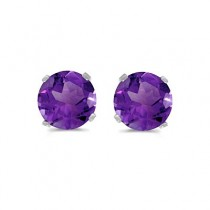 0.80ct Amethyst Stud Earrings February Birthstone 14k White Gold|escape