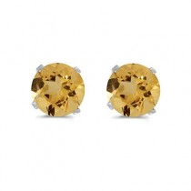 0.80ct Round Citrine Stud Earrings November Birthstone 14k White Gold