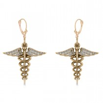 Diamond Caduceus Medical Symbol Dangle Earrings 14k Yellow Gold (0.26ct)