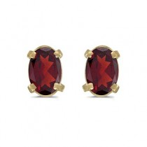 Oval Garnet Studs January Birthstone Earrings 14k Yellow Gold (1.10ct)