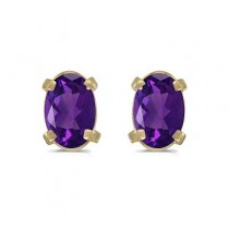 Oval Amethyst Studs February Birthstone Earrings 14k Yellow Gold (0.90ct)