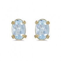Oval Aquamarine Studs March Birthstone Earrings 14k Yellow Gold (0.80ct)