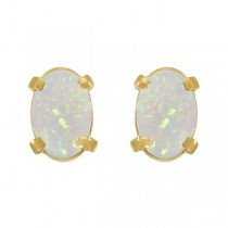 Oval-Shaped Opal Stud Earrings in 14K Yellow Gold (0.54 ct)