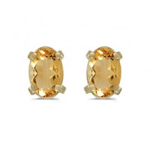 Oval Citrine Stud Earrings in 14k Yellow Gold (0.90tcw)