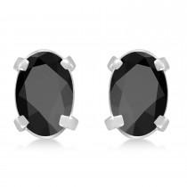 Oval Black Onyx Studs Earrings 14k White Gold (0.90ct)