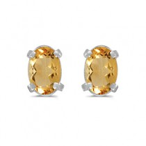 Oval Citrine Stud Earrings in 14k White Gold (0.90tcw)