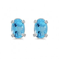 Oval Blue Topaz Stud Earrings in 14k White Gold (1.14tcw)