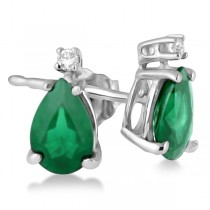 Diamond and Pear Emerald Teardrop Earrings  14K White Gold (0.72tcw)