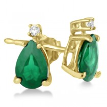 Diamond and Pear Emerald Earrings 14K Yellow Gold (0.72tcw)