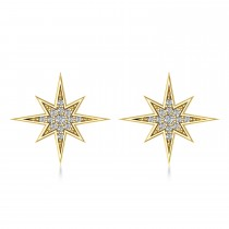 Diamond Adorned North Star Earrings 14k Yellow Gold (0.16ct)