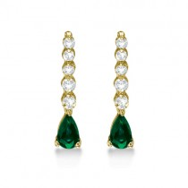 Pear Emerald & Diamond Graduated Drop Earrings 14k Yellow Gold (0.80ctw)