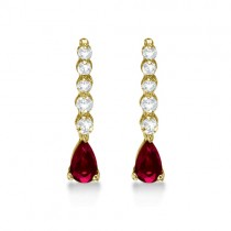 Pear Ruby & Diamond Graduated Drop Earrings 14k Yellow Gold (0.80ctw)