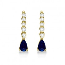 Pear Sapphire & Diamond Graduated Drop Earrings 14k Yellow Gold (0.80ctw)