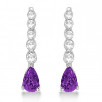 Pear Amethyst & Diamond Graduated Drop Earrings 14k White Gold (0.80ctw)