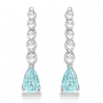 Pear Aquamarine & Diamond Graduated Drop Earrings 14k White Gold (0.80ctw)