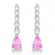 Pear Pink Sapphire & Diamond Graduated Drop Earrings 14k White Gold (0.80ctw)