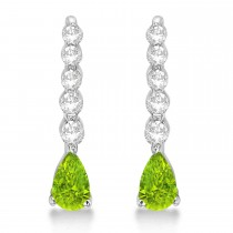 Pear Peridot & Diamond Graduated Drop Earrings 14k White Gold (0.80ctw)