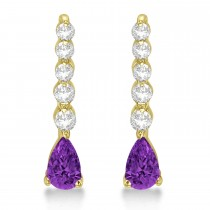 Pear Amethyst & Diamond Graduated Drop Earrings 14k Yellow Gold (0.80ctw)