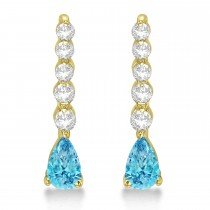 Pear Blue Topaz & Diamond Graduated Drop Earrings 14k Yellow Gold (0.80ctw)