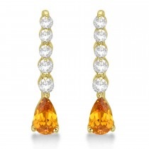 Pear Citrine & Diamond Graduated Drop Earrings 14k Yellow Gold (0.80ctw)