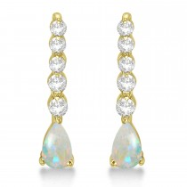 Pear Opal & Diamond Graduated Drop Earrings 14k Yellow Gold (0.80ctw)